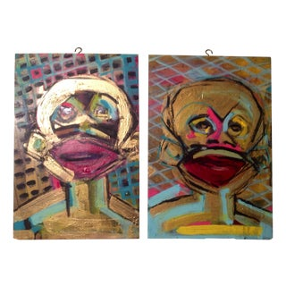 Vintage Abstract Monkey Paintings - A Pair