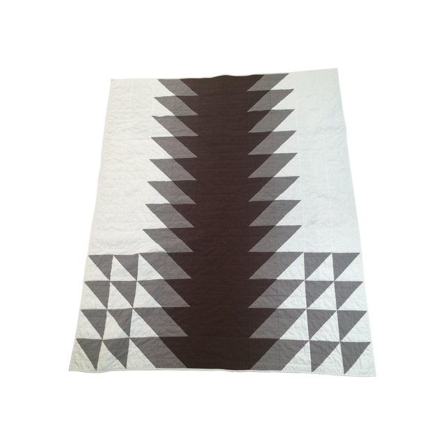 Boho Chic Neutral Brown & Gray Quilt - Image 1 of 5