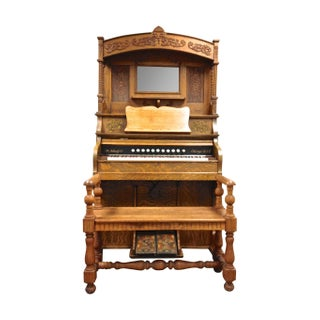 1904 Antique Schulz Pump Organ & Oak Bench
