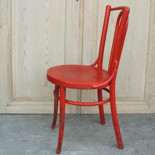 Red French Bentwood Dining Chair - Image 5 of 7