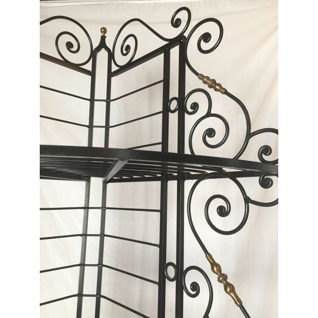 Vintage French Brass And Iron Corner Baker's Rack - Image 4 of 8