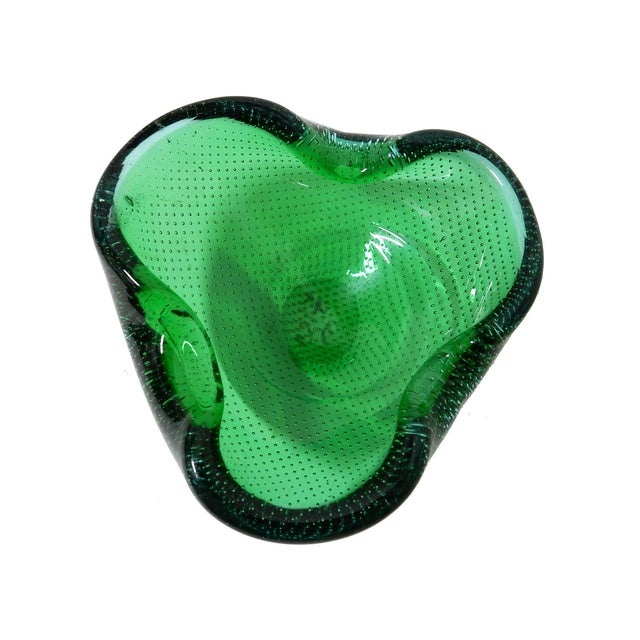 Image of Hand Blown Green Controlled Bubbles Murano Bowl
