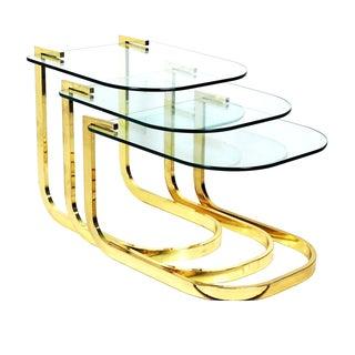 Milo Baughman Style Nesting Tables - Set of 3