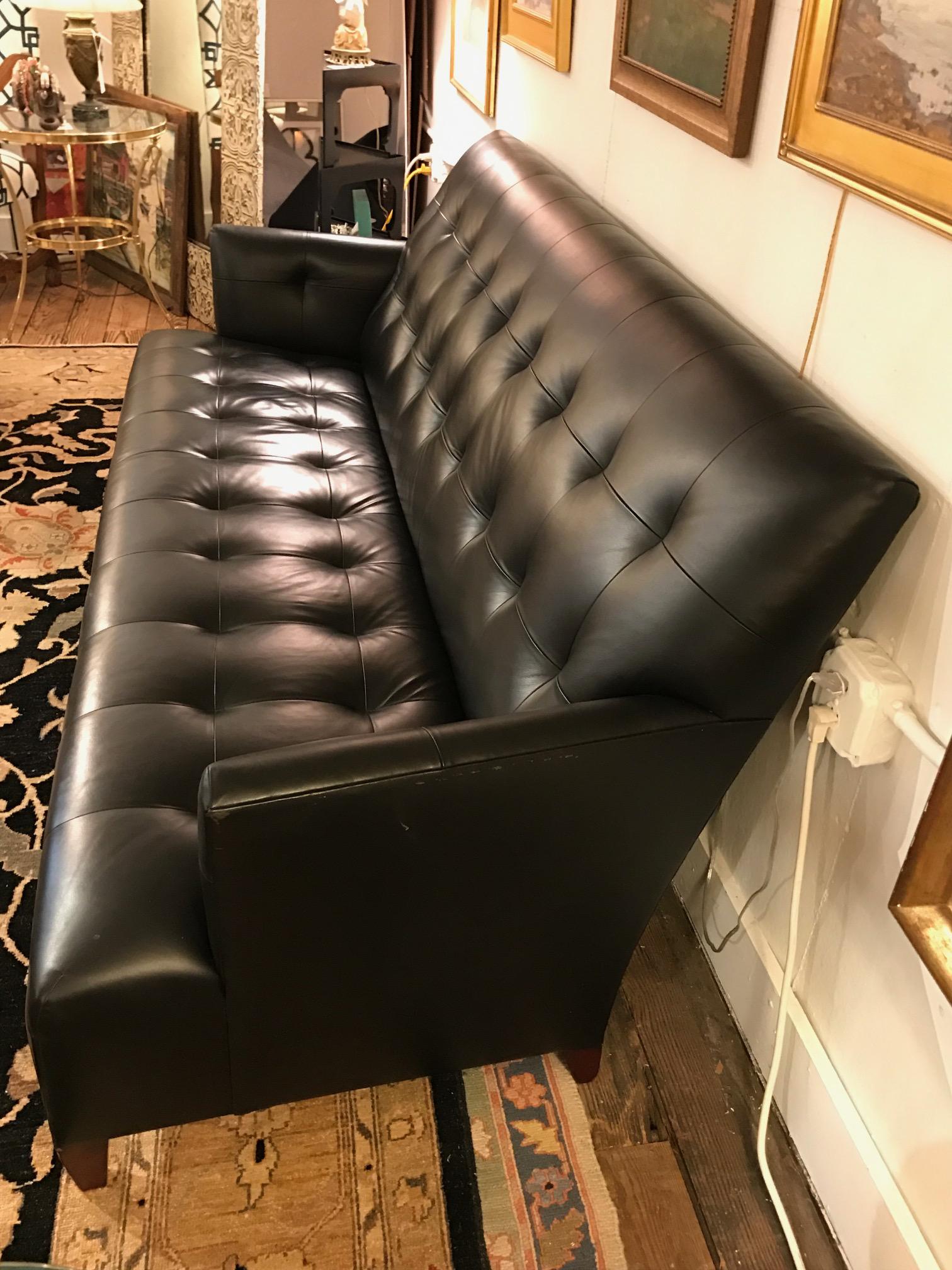 Attractive Sleek Italian Black Leather Donghia Sofa   Image 4 Of 8