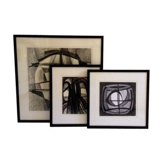 Vintage Abstract Charcoal Drawings - Set of 3