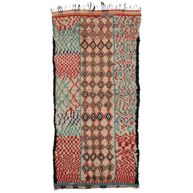 Vintage Moroccan Berber Tribal Motif Rug - 4′4″ × 8′6″ - Image 1 of 7
