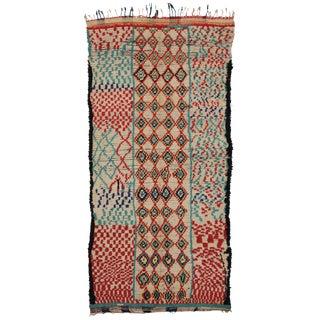Vintage Moroccan Berber Tribal Motif Rug - 4′4″ × 8′6″