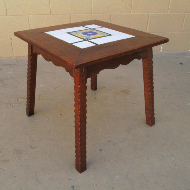 Superior Antique Mission Spanish Tile Top Accent Table   Image 6 Of 8