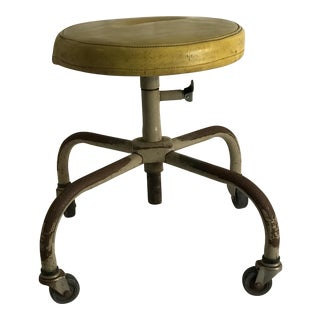 Vintage Industrial Casters Low Stool with Yellow Vinyl