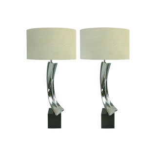 1960's Laurel Nickel Table Lamps by Maurizio Tempestini - a Pair