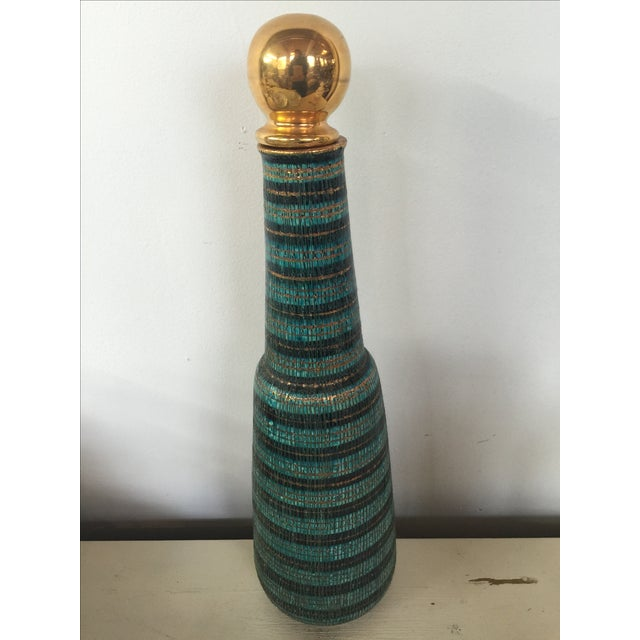 Image of Bitossi Sgraffito Mid-Century Blue & Gold Decanter