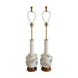 Mid-Century White Porcelain Marbro Lamp - Pair