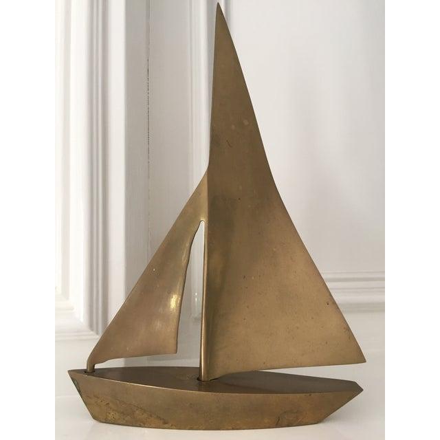 MCM Vintage Brass Sailboat - Image 2 of 6