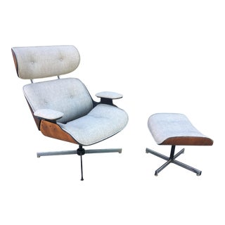 Plycraft Grey Tweed Chair and Ottoman