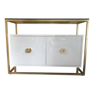 Worlds Away Juno White Lacquer & Gold Frame Cabinet