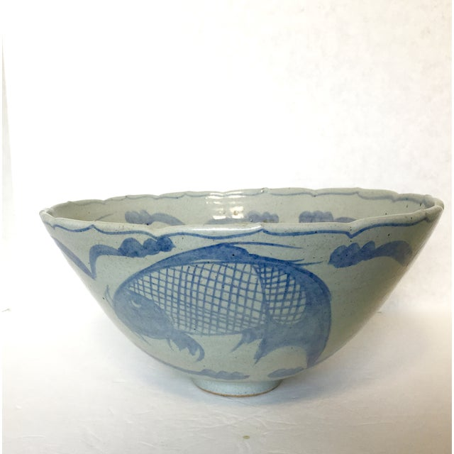 Stoneware pottery koi fish serving bowl chairish for Koi fish bowl