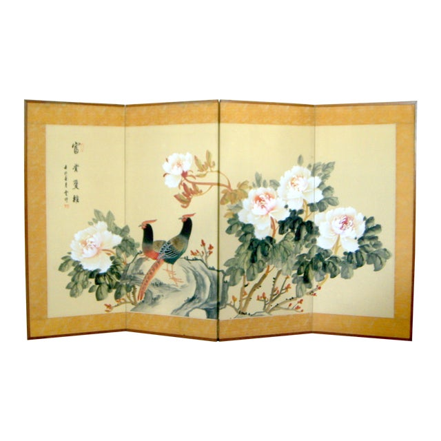 Oriental Silk Screen with Chrysanthumums - Image 1 of 6