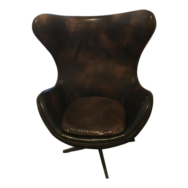 Restoration Hardware Copenhagen Leather Wingback Chair - Image 1 of 5