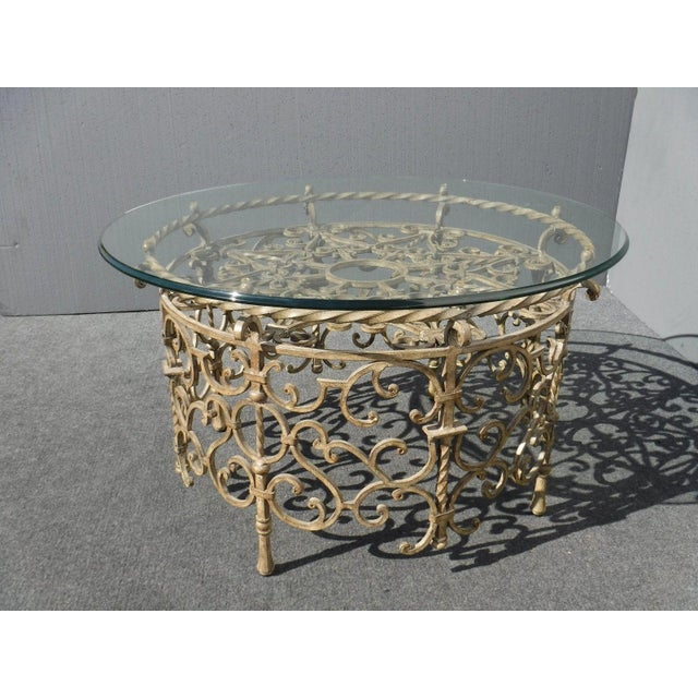 Vintage Rococo Wrought Iron Glass Coffee Table Chairish