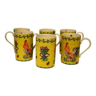 Hand-Painted Coffee Mugs - Set of 6