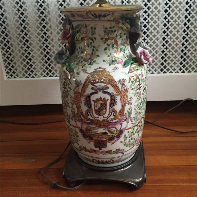 Antique Chinese Rose Medallion Vase Lamps - Pair - Image 3 of 11