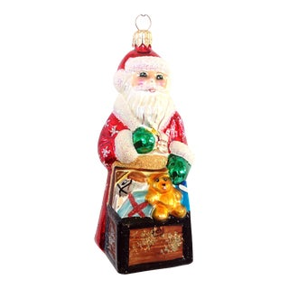 Christopher Radko Glass Santa & Toy Chest Ornament