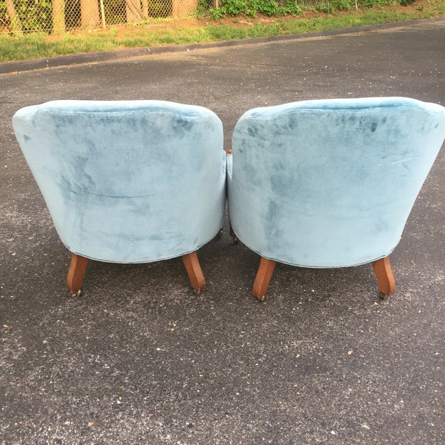 Woodmark Originals Blue Velvet Slipper Chairs - A Pair - Image 5 of 11