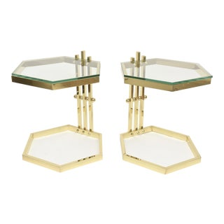 Pair of Vintage Modernist Sculptural Brass/ Glass Side Tables