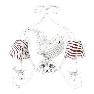 White Metal Electric Rooster Sconce