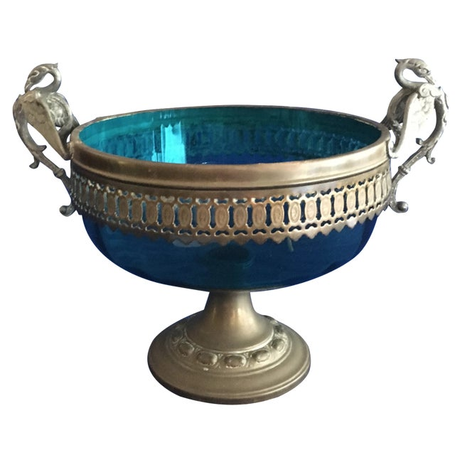 Blue Glass Compote with Dragon Handles - Image 1 of 10