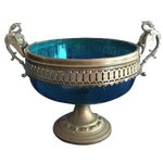 Image of Blue Glass Compote with Dragon Handles