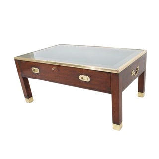 Campaign Style Cocktail or Coffee Table with Display Case