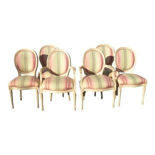 French Country Off White & Pink Dining Chairs - Set of 6