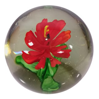 Hand Blown Flower Glass Paperweight