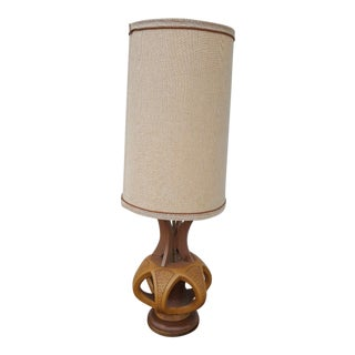 Plasto Mfg Co. Mid-Century Danish Chalkware & Walnut Table Lamp