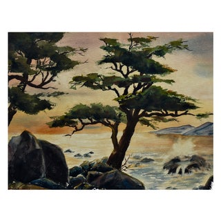 Robert Price Watercolor of Point Lobos Sunset