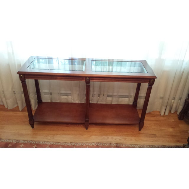 Vintage Solid Fruitwood and Beveled Glass Console Table - Image 7 of 11