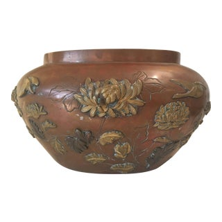Japanese Metal Vase With Appliques