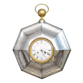 French Late 19th Century Steel and Brass Octagonal Pocket Watch Shaped Clock