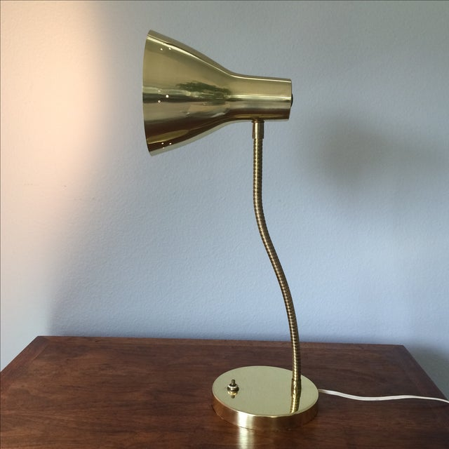 Image of Mid-Century Gold Metal Table Lamp