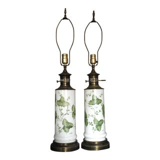 Antique Garden Ivy Lamps - A Pair