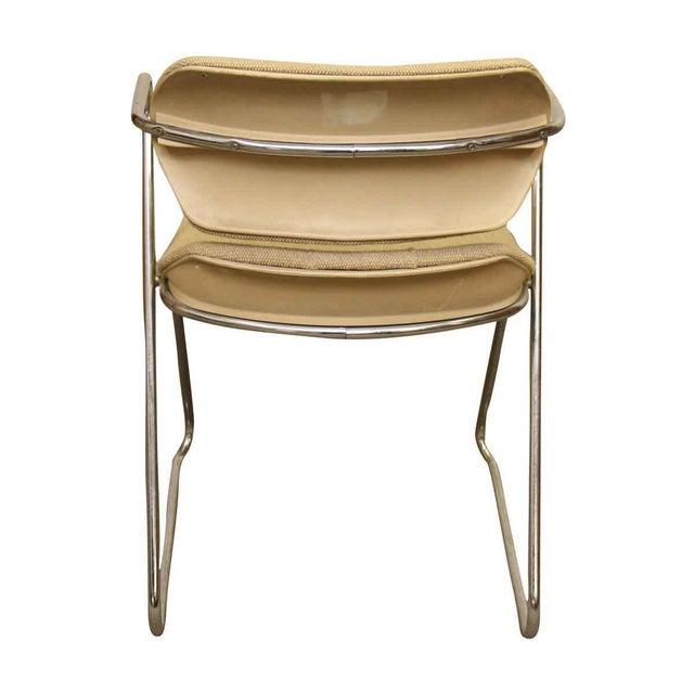 Unique Bent Metal White Vinyl Mid Century Desk Chair