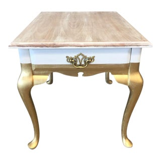 Upcycled Gold & White Side Table