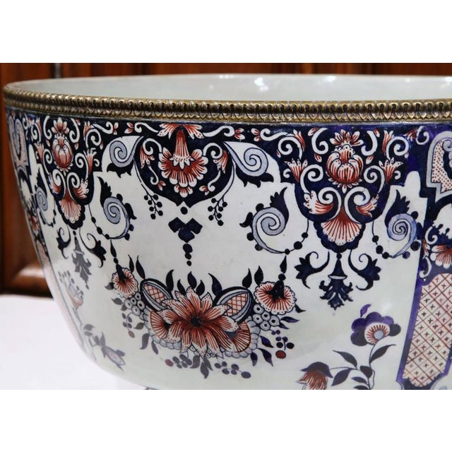 19th Century French Hand-Painted Faience Cachepot - Image 7 of 10