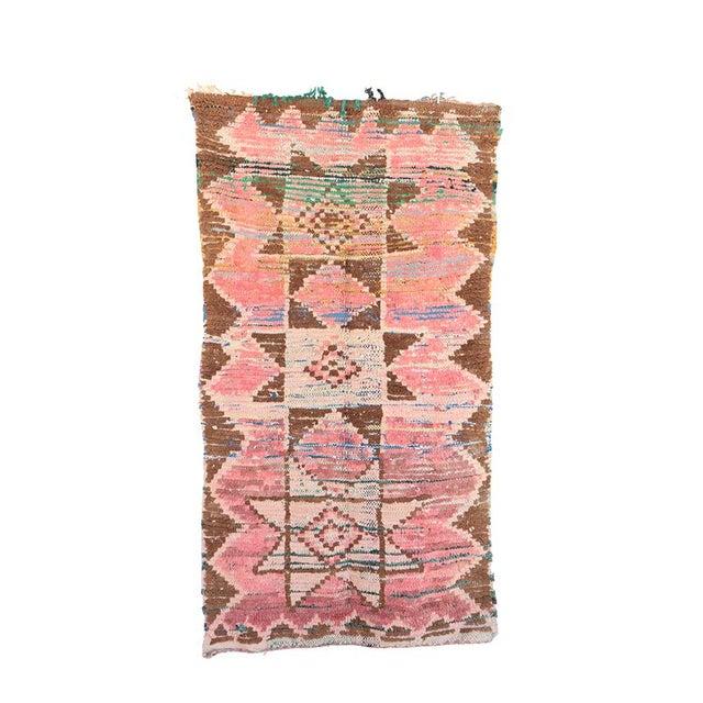 vintage boucherouite moroccan rug 3 39 4 x 6 39 2 feet 103 x 190 cm chairish. Black Bedroom Furniture Sets. Home Design Ideas
