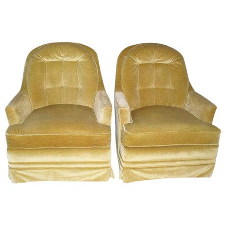 Hollywood Regency Gold Velvet Arm Chairs - Pair - Image 1 of 6