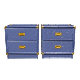High Gloss Navy Blue Bamboo Campaign Nightstands - A Pair