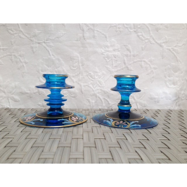 Vintage Glass Candleholders - a Pair - Image 3 of 5
