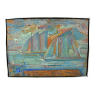 "Maurice Becker ""Sails at Sunset"" Oil Painting"
