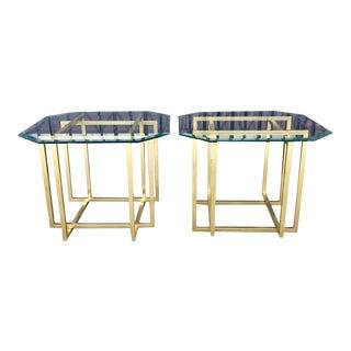 1970s Rectangular Glass & Brass End Tables - Pair